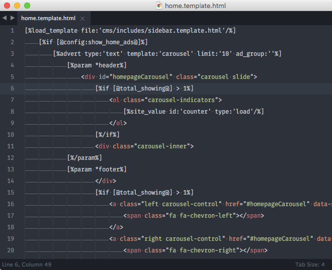 The homepage template is now open in Sublime Text and ready to be modified.